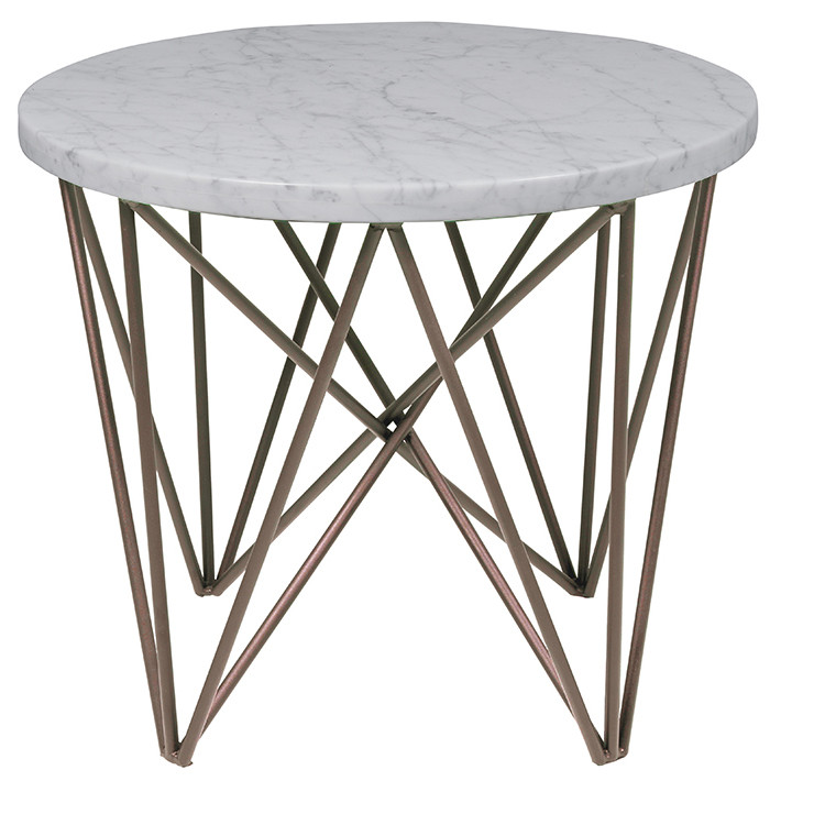 Elle Criss Cross Round Side Table With Brass Legs Ash Road