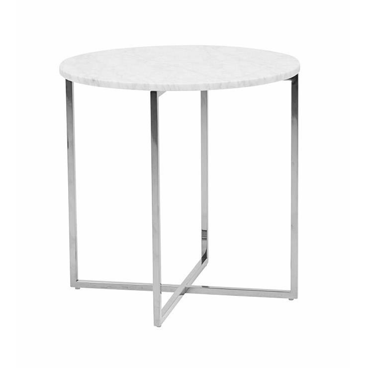 Elle Luxe Marble Round Side Table With Silver Legs