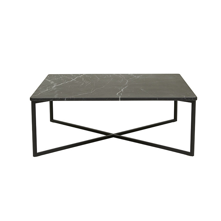 Found Square Coffee Table In Black Marble And Black Steel: Elle Luxe Square Coffee Table In Black Marble