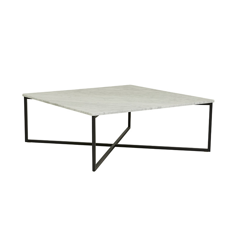Square Coffee Table In White Marble And Black Metal: Elle Luxe Square Coffee Table In White Marble And Black