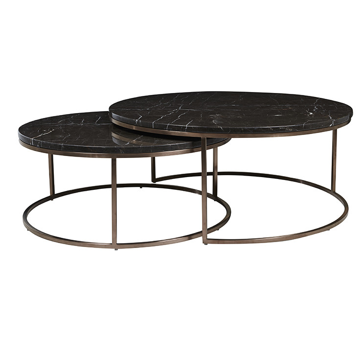 Set Of 2 Square Design Nesting Coffee Tables Made Of Black: Elle Round Nest Of Tables In Brown Marble With Copper