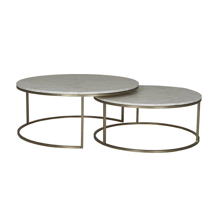 Elle Round Nest Of Tables In White Marble