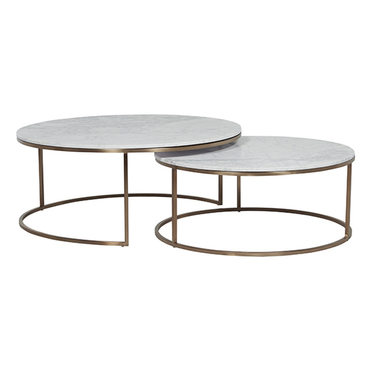 Elle Round Nest Of Tables In White Marble With Gold Frame Ash Road