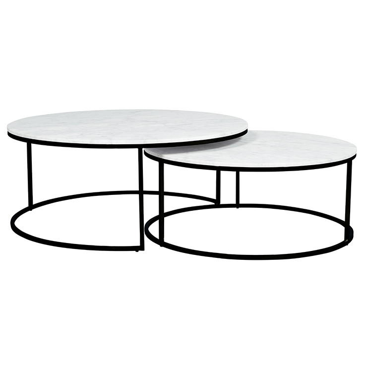 Square Coffee Table Vs Round: Elle Round Nest Coffee Tables In White Marble And Black